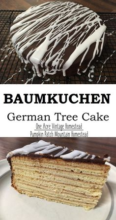 Baumkuchen - German Tree Cake ⋆ One Acre Vintage & Pumpkin Patch Mtn. Baumkuchen - German Tree Cake ⋆ One Acre Vintage & Pumpkin Patch Mtn. German Baking, British Baking, German Desserts, Just Desserts, Baking Recipes, Cake Recipes, Dessert Recipes, Austrian Recipes, German Recipes