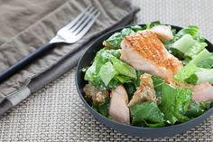 Salmon Caesar Salad with Homemade Sourdough Croutons - This super simple salad had limited ingredients but really amazing flavor.  As I was making the recipe, I kept thinking there was no way this would be enough dressing for such huge portions.  I was wrong!  As much as we love salmon, I can see us having this multiple times a month, if not weekly!