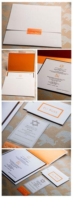 Brown & Orange Bar Mitzvah Invitation + Stationery