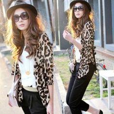 Women Sexy Chiffon Leopard Coat Sleeve Cardigan Fashion Top Blouse
