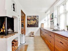 muebles de cocina de madera ladrillo visto estilo nórdico escandinavo estilo danés decoración nórdica decoración exteriores construcciones más antiguas casas adosadas decoración Casa adosada danesa blog decoracion interiores