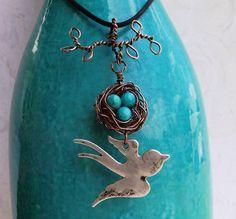 Bird nest on branch pendant by ArtyzenStudio on Etsy, $40.00