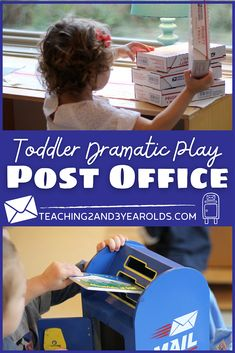 Having a post office dramatic play area in your classroom offers a variety of opportunities for working together, writing and sending notes, and learning how mail is delivered. While toddlers and preschoolers are sorting, transporting, and sending packages, they are building language skills while working and playing together. #postoffice #dramaticplay #pretend #toddlers #preschool #classroom #communityhelpers