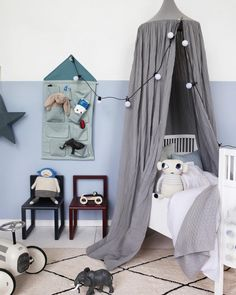 Soft blue walls and decorations in different shades of blue which work so well with the grey canopy http://petitandsmall.com/ideas-decorating-kids-room-blue/
