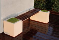 ipe wood and concrete bench - Google Search