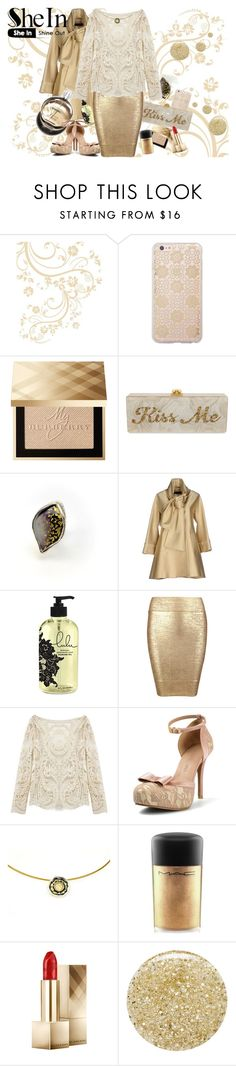"""""""Golden elegance"""" by giampourasjewel ❤ liked on Polyvore featuring Sonix, Burberry, Edie Parker, Elie Saab, Posh Girl, Hermès, MAC Cosmetics, Lancôme, women's clothing and women"""