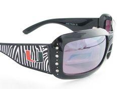 Miami Hurricanes NCAA Women's Rhinestone Black Zebra Print Sunglasses