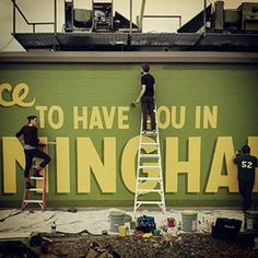 """Mural collective kicks off with """"It's Nice To Have You in Birmingham"""" sign"""