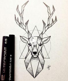 Dotted Drawings, Art Drawings Sketches Simple, Pencil Art Drawings, Easy Drawings, Animal Drawings, Drawing Ideas, Badass Drawings, Geometric Deer, Geometric Drawing