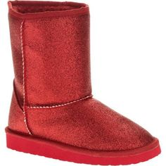 Faded Glory Girls' Sparkle Lug Sole Boot, Size: 4, Red