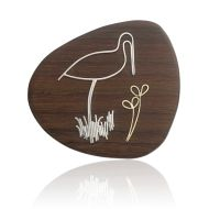 Christine Kaltoft, Stork brooch, silver, 18ct gold, and Indian Rosewood