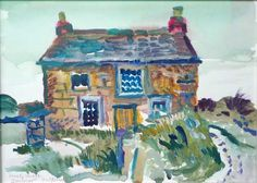 Lonely House (original watercolour Beautiful serene view of an isolated cottage near Zennor Cornwall) by Fred Yates British (orangehat) Watercolour Painting, Painting & Drawing, Original Artwork, Original Paintings, St Ives, Outsider Art, Naive, Cornwall, Lonely