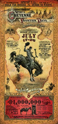 1 of 4: Cheyenne Wyoming Frontier Days Rodeo poster by Bob Coronato vintage cowboy style