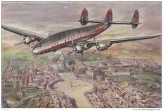 TWA Constellation Airplane over ROMA , Italy , 1940s