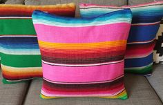 Handmade Bubblegum Pink Serape Pillow Covers Mexican Blanket Fabric with Zipper Closure Mexican Bedroom, Mexican Home Decor, Home Decor Furniture, Furniture Making, Painted Cow Skulls, Serape Fabric, Western Rooms, Santa Fe Style, Mexican Designs