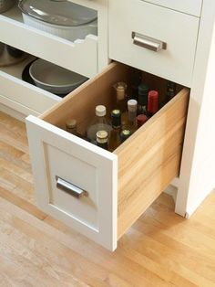 Top 12 storage ideas for your kitchen - Bottle drawer - Page 14 - Decorating Photos - Better Homes and Gardens - Organised Housewife, Drawer Unit, Kitchen Drawers, Kitchen Base Cabinets, New Kitchen, Smart Kitchen, Kitchen Ideas, Clever Kitchen Storage, Kitchen Nook