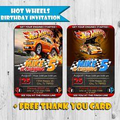 Hot Wheels Birthday Invitation - Free Thank You Card - Printable Ticket Invitation - Digital - Personalized - Fast Service