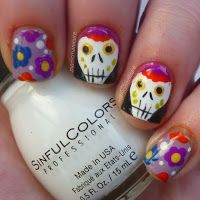 Image shared by Manic Manicure. Find images and videos about cute, nails and Halloween on We Heart It - the app to get lost in what you love. Nails Inspiration, Nailart, Manicure, Polish, How To Make, Halloween, One Day, Day Of The Dead, Death