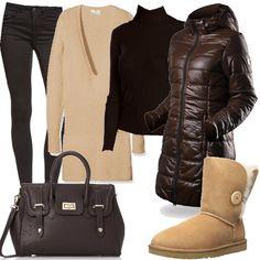 Per questo outfit: pantaloni aderenti marrone scuro, dolcevita dello stesso colore, maglione lungo color crema con scollo profondo, stivaletto caldo, maxibag marrone scuro e piumino trapuntato marrone scuro.