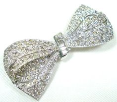 Crystal Rhinestone Vintage Bow Brooch Silver Tone Dimensional Pin    From Ruby Lane shop Green Desert Art