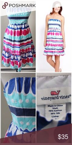 """Vineyard Vines Dress Strapless Size 2 Vineyard Vines polka dot ruffle dress. Strapless, lined, zipper closure. This is in like new condition except for one little mark on the front. It looks almost like a pen mark, but not 100% sure. It's not very noticeable.  Size 2 15"""" across at bust  13"""" across at waist 32"""" long Vineyard Vines Dresses"""