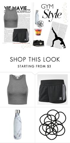 """""""Gym Style"""" by persephone3401 ❤ liked on Polyvore featuring adidas, S'well, Monki, New Balance Classics, black, workout, gray and active"""