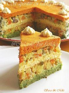 Appetizer cake, filled with boeuf salad ~ Culorile din farfurie Appetizer Salads, Appetizers, Romanian Food, Romanian Recipes, Salad Dishes, World Recipes, Saveur, Cornbread, Vanilla Cake