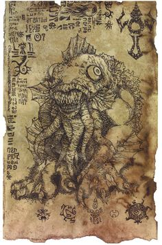 The Litany of Dagon scroll  Lovecraft prop LARP cthulhu by Hawanja, $9.99