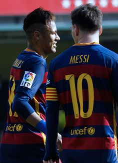 """barcelonaesmuchomas: """" Neymar celebrates with Messi after scoring against Villarreal during the match between Villarreal and Barcelona at the Madrigal stadium, Sunday, March 20, 2016 """""""