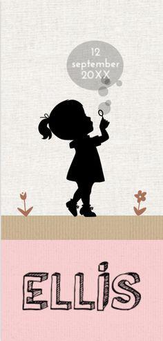 Geboortekaartje voor een meisje met silhouet en bellenblaas op verschillende structuren papier. Proefdruk €1,- Verzenden gratis