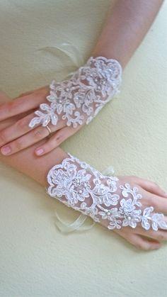 Ivory Bridal Wrist Cuffs,