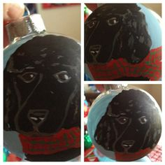 Custom hand-painted glass ornament. Send me a pic of your pet and I'll personalize it! This sweet poodle turned out so cute!  https://www.facebook.com/RobynsEggBlue