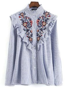 Online shopping for Blue Vertical Striped Flower Embroidered Ruffle Shirt  from a great selection of womenu0027s fashion clothing u0026 more at MakeMeChic.