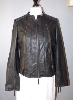 Veste cuir noir One Step avec zip