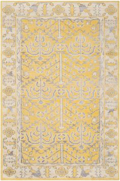 Happiest Damn Rug I ever saw. / Stone Wash Collection STW213A Color: Yellow / STW213A Rug from Stone Wash collection.  Casual with an artfully crafted look, Stonewashed collection rugs are hand-knotted in India using a blend of fibers to create a fashion-inspired distressed look and dimensional texture. A mélange of patterns includes transitional and vintage designs.
