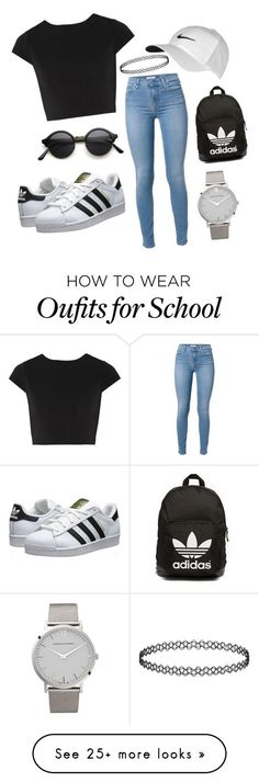 """Outfit for school!"" by matthew-chalut on Polyvore featuring moda, Alice + Olivia, adidas Originals, NIKE y Larsson & Jennings:"