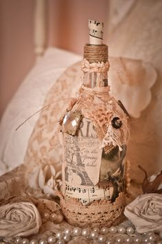 French Inspired, Altered Vintage Bottle with Antique Laces and Linens on Etsy, $50.00