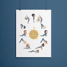 Sun Salutation Asana Poster, Yoga Art Print, Illustration, Yogi Wall Decor Prints, Yogi Kids by OficinaBeeShanti on Etsy Yoga Art, My Yoga, Yoga For Kids, Asana, Artwork Prints, Giclee Print, Activities For Kids, Wall Decor, Colours