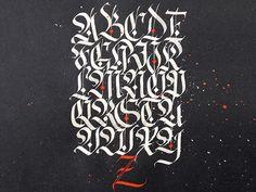 Fraktur alphabet designed by Denis Foca. Tattoo Lettering Fonts, Graffiti Lettering, Typography Fonts, Graffiti Art, Gothic Script, Gothic Fonts, Tattoo Alphabet, Calligraphy Alphabet, Letras Tattoo