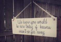 Wedding signif heaven wasn't so far away rustic by RubbishLove, $23.00 on chalkboard in orange?? and white outline??
