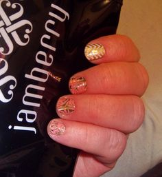 Love Fern &  Gold Sparkle with White Chevron accent http://lorirarmstrong.jamberrynails.net/