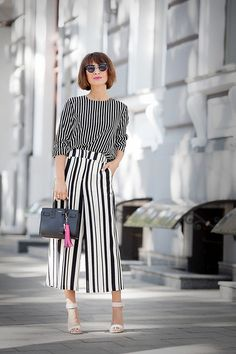 asos striped culottes, striped top, summer styles, summer outfit ideas, summer street styles, total stripes look,