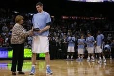 """Tyler Zeller being awarded """"ACC player of the year award."""" I was at this game. <3"""
