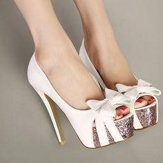 Fashion Round Peep Toe Bow-tie Designed Platform Stiletto Super High Heels White PU Basic Pumps
