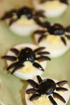 Deviled Eggs with Black Olives as Spiders