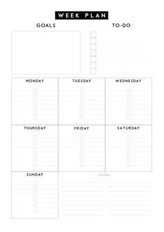 Free weekly planner. Nice and simple weekly goals planner to help you achieve your weekly goals. Free weekly printable planner. Perfect desk pad planner.