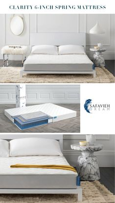 Stay in bed. Vast amounts of 80s pop and champagne convinced you and your friends to post your late-night amateur vocals video. You are now known as #keepyourdayjobgirl. The Safavieh Clarity 6-inch Spring Mattress can cushion the blow. It adjusts to every inch and angle of your body with Super-soft DreamFOAM. Our ComfortSOFT Advanced Bonnel Spring Technology and Diamond-Quilt Pure Comfort Fabric offer gentle, soothing support. #SafaviehDream #Mattresses Mattress In A Box, Pillow Top Mattress, Affordable Mattress, Spring Technology, 80s Pop, Stay In Bed, Mattress Springs, Diamond Quilt
