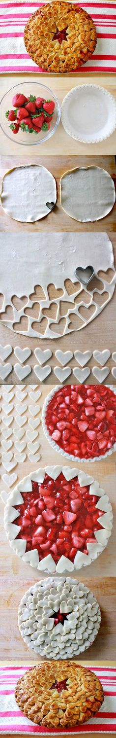 Strawberry Heart Pie on Occasion of Valentines Day...Romantic Valentine's Day Desserts Ideas To Make Your Date Special #ValentineTreat