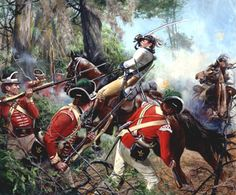 """Battle of Eutaw Springs Colonel William Washington is unhorsed during bitter fighting at the Battle of Eutaw Springs, S. 1781 during the American Revolution.~ """"Painting by Don Troiani"""" American Revolutionary War, Early American, American Civil War, American History, American Independence, Declaration Of Independence, Military Art, Military History, Military Uniforms"""