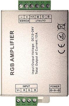 Acest amplificator 12A pentru banda LED alimentata la 12V are rolul de a amplifica curentul cu acelasi controller, pentru o lungime de banda mai ampla. Prin amplificarea semnalului aveti nevoie de un singur controller. Led, Bands